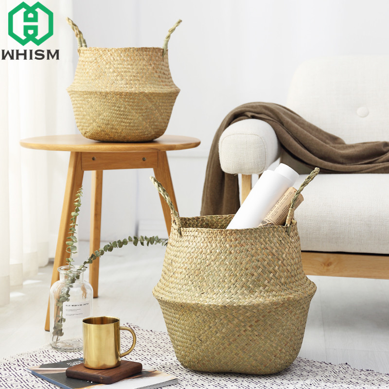 WHISM 2PCS Storage Basket Folding Flower Pot Sea Grass Hanging Vase Home Garden Planter Laundry Dirty Clothes Organization
