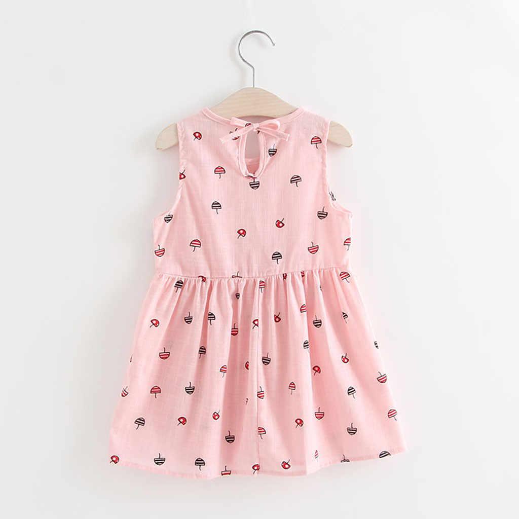 Летнее платье принцессы для маленьких девочек; Детские вечерние платья без рукавов для свадьбы
