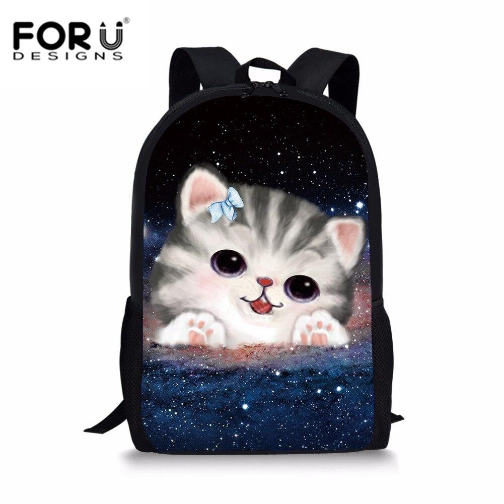 FORUDESIGNS Сладкий кот для девочек школьные сумки милые Galaxy Kitty ранцы дети Bookbag Мультфильм Дети Мягкий школьный рюкзак Mochila