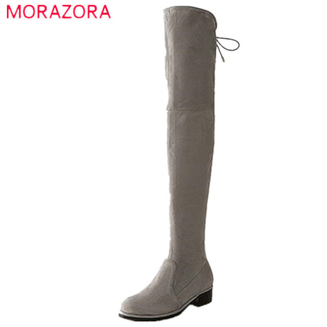 Morazora Office Lady Kid Suede Over The Knee Boots Square Heel Fashion Elegant Autumn Lace