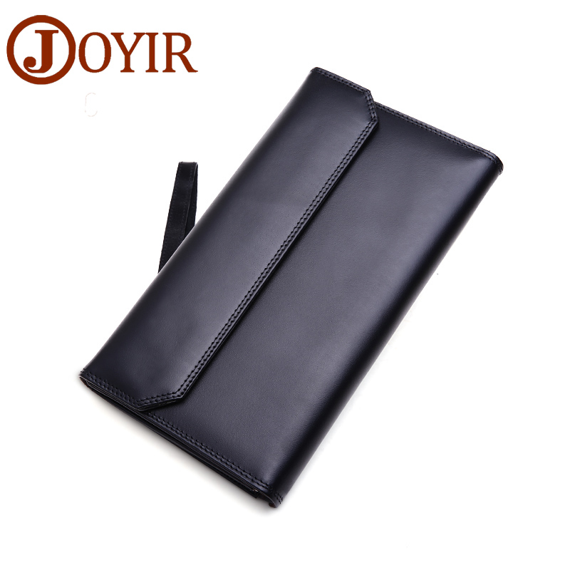 JOYIR Men Genuine Leather Wallet Fashion Solid Hasp Clutch Purse Long Wallet Phone Card Holder Coin Purse handbag men 9351 casual weaving design card holder handbag hasp wallet for women