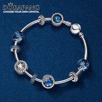 DORAPANG 100% 925 Sterling Silver Rose gold Love bracelet Clear CZ Charm Bead fit pendant DIY Bangles Set factory wholesale