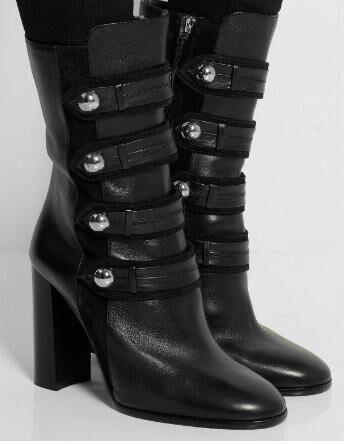 LTTL Newest 2017 Women Autumn Winter Boots High Heel Mid-calf Bootie beautiful Rivets Black Rain Boots Ladies High Heel Shoes mulinsen newest 2017 autumn winter men