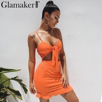 Glamaker Ruffle hollow out bow party dress Women crop strap v neck summer dress 2019 White fitness bandage beach dress vestidos