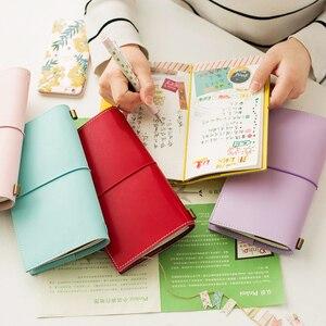 Image 3 - Heißer Vintage Makronen Reisende Notebook Echtes Regeneriert Leder Schule Persönliche Milch Notebook Agenda Planer Reise Journal
