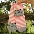 3 Pairs/lot Hot Sale Cute 3D Cat Striped Cartoon Socks Women Footprints Cotton Socks Low Cut Ankle Socks Autumn Winter Floor