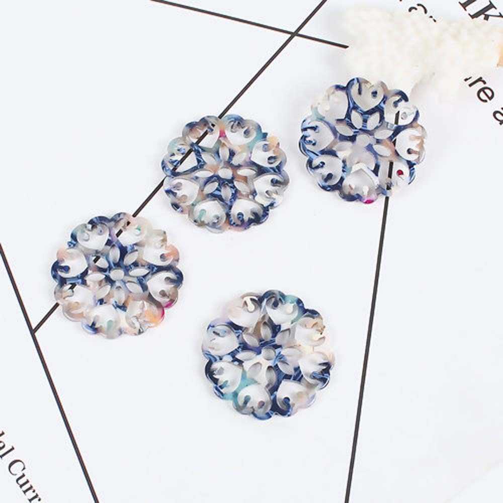 5pcs Acetate ตัวเชื่อมต่อเรซิ่นสีน้ำตาลสีเทา Openwork ดอกไม้รอบสำหรับสร้อยคอ DIY เครื่องประดับทำอุปกรณ์