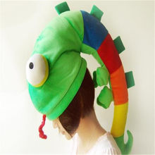 Chameleon hat lizard creative boy hat photo props cosplay toy hat plush toy christmas halloween birthday party dress up(China)