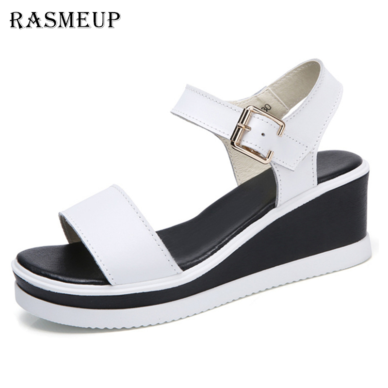 RASMEUP Genuine Leather Women's Wedge Sandals 2018 New Fashion Women Summer Shoes Buckle Strap Casual Platform Woman Sandals o16u women fashion sandals genuine leather strap sandals ladies high heel buckle wedge platform sandals shoes women flats summer