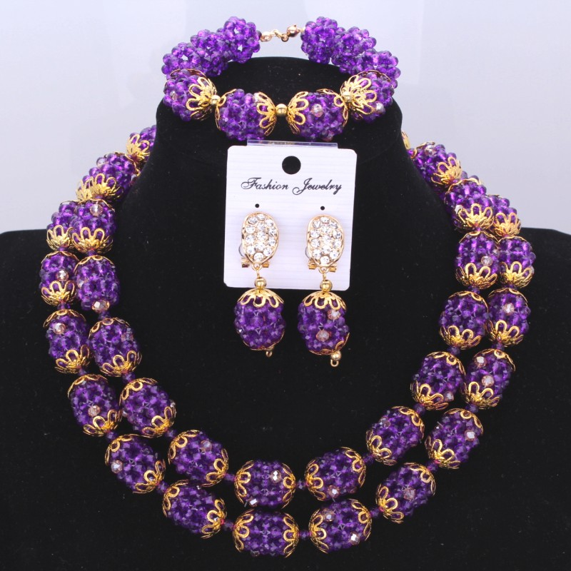Sexy Jewelry Double Design Balls Jewelry Set Christmas Costume Necklace Earrings African Indian Wedding Beads Jewelry Set