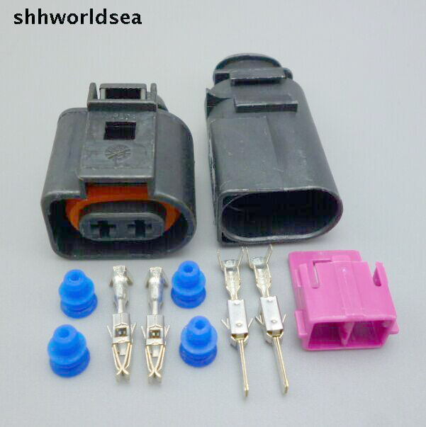 shhworldsea 5/30/100set 3.5mm male female Wiper Pump Pigtail Wiring Plug Connector 8B0 973 822 1J0973722 For VW Jetta Golf GTI