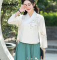 Free Shipping High Quality National Style V Collar Long Sleeve Flower Embroidery Cotton Blouse