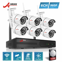 ANRAN P2P Plug Play 960P 8CH NVR WIFI Kit 6pcs 36 IR Day Night Outdoor 1