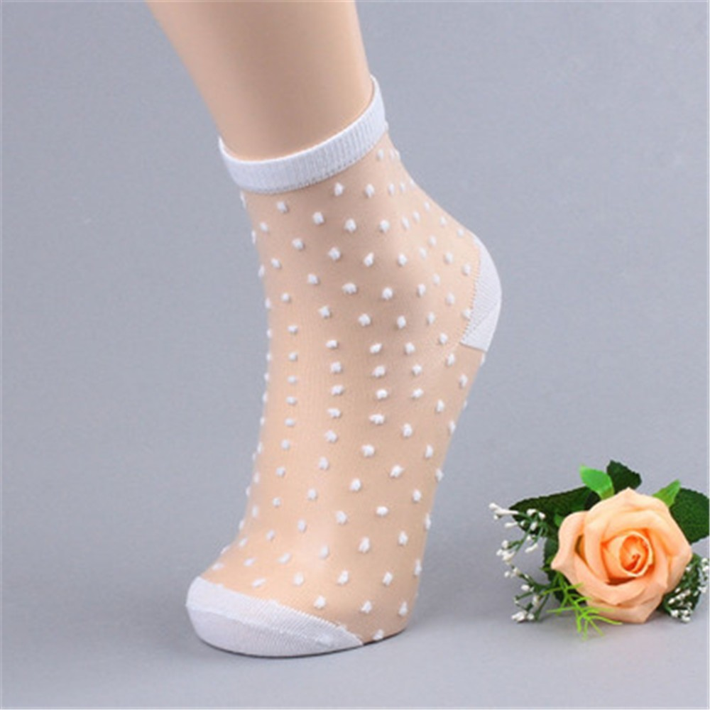 ChamsGend Women Ladies Fashion Sheer Silk Socks Ultrathin Transparent Crystal Lace Elastic compression socks 180126-1