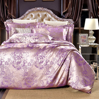 Hot sale Silver purple flowers High Quality Silk Tencel satin Jacquard Bedding set Queen size Bedclothes Duvet cover set AA033