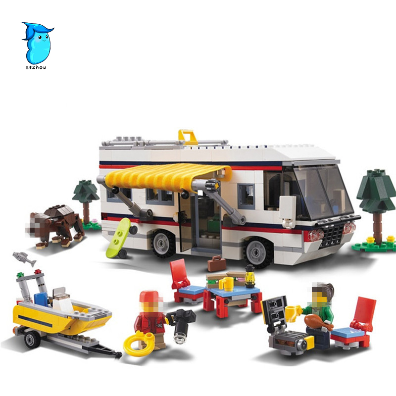 StZhou 3117 792pcs Vacation Getaways Camper Summer Home Architect 3 In 1 decool Building Block Compatible  Brick Toy gonlei 3117 city creator 3 in 1 vacation getaways building blocks bricks kids model toys marvel compatible with