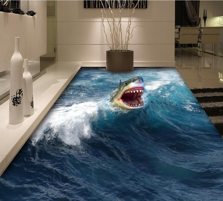 Painting Bathroom Wall Tiles 3d Floor Painting Wallpaper 3d Shark Flooring 3d Pvc