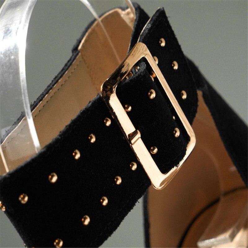 العلامة التجارية الجديدة من جلد الغزال أسافين أحذية النساء الصنادل الكاحل حزام صنادل أرضية حذاء نسائي بكعب عالٍ مريحة الصيف الصنادل للنساء-في كعب عالي من أحذية على  مجموعة 2