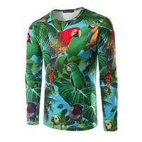 Funny T Shirts Men Fashion Brand Clothing 3d Gorgeous Parrot Printer Hip Hop Men T Shirt