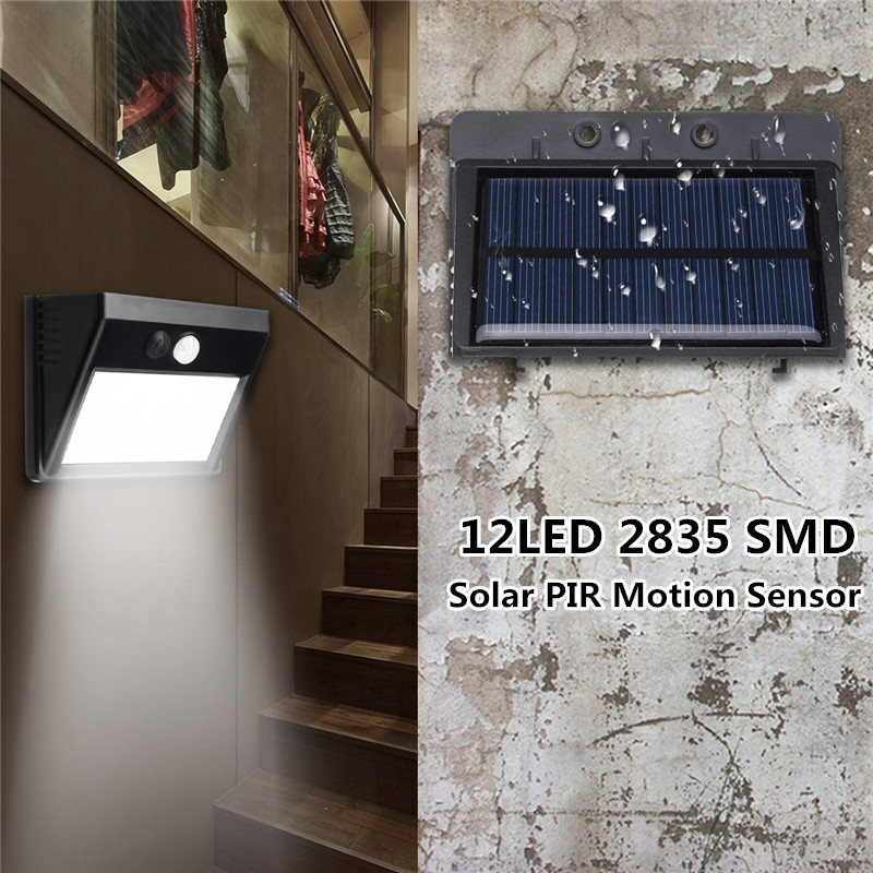 Mising Integrated Outdoor 12 LED Solar Light PIR Powered Motion Sensor Garden Lamp Security Wall Light Waterproof IP65