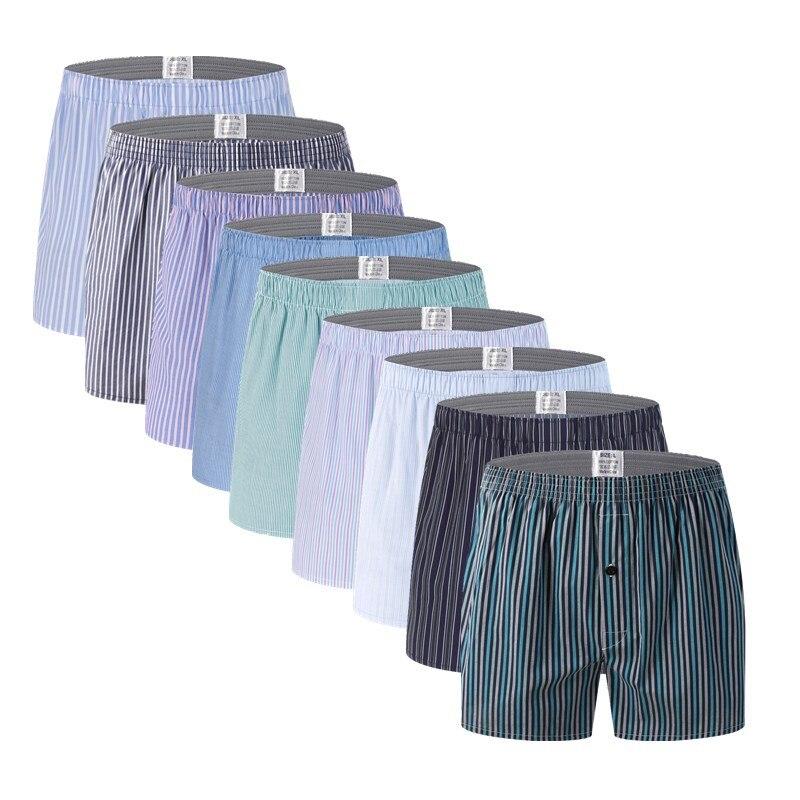 4Pcs/Lot Classic Plaid Striped Men's Boxers Cotton Mens Underwear Trunks Woven Homme Arrow Panties Boxer Plus Size 4XL 5XL 6XL