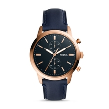 FOSSIL Mens Townsman 44mm Chronograph Navy Leather Watch Brand Wrist for Man FS5436