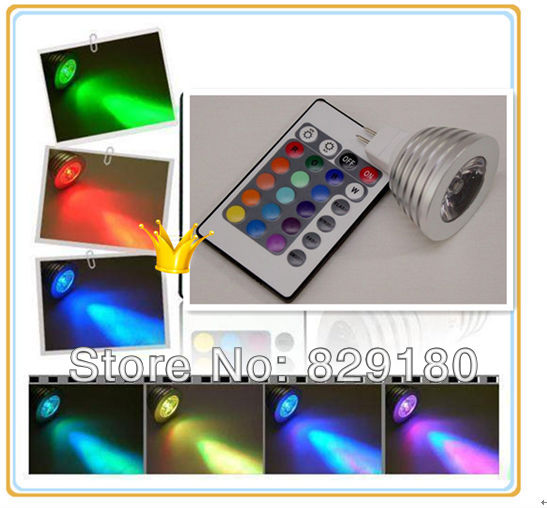 Best selling 100PCS/Lot  RGB 16 Colors led Spotlight 9W  MR16/E27/GU10 AC 110-240V/DC 12V LED Light Bulb +Remote Control