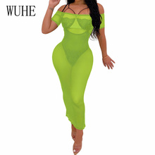 WUHE Women Summer Strapless Sexy Perspective Mesh Bodycon Maxi Dress Fashion Black Vintage Short Sleeve Off Shoulder Party Dress