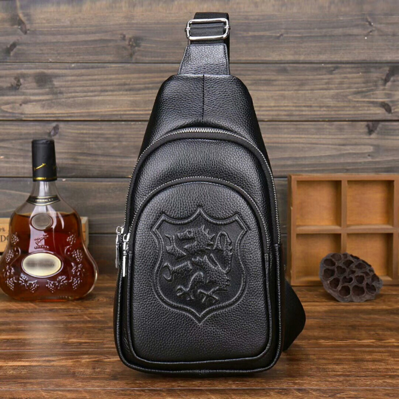USB hole New men s chest bag men s top layer genuine leather chest packs shoulder