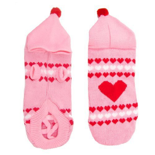 Winter Heart Pattern Hand Knit Yorkie Dog Pet Puppy Clothing Sweater Pink L