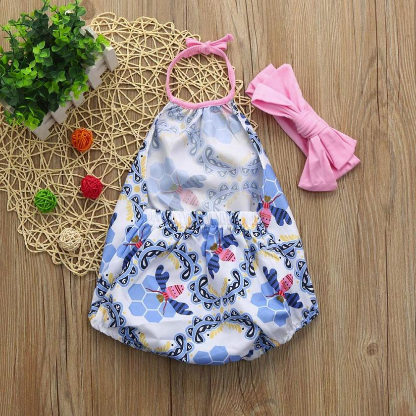 newborn baby girl kid clothes long sleeves rompe 2Pcs Baby Girls Infant Floral Toddler Jumpsuit Romper+Headband Set Clothes M15