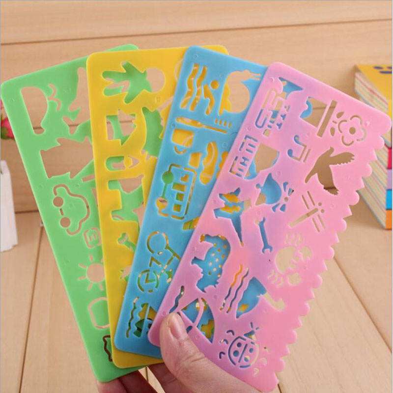 4pc Creative Candy Color Plate Ruler Office Stationery Art Drawing Template Plastic Ruler Children Toy Feet Promotional Gifts
