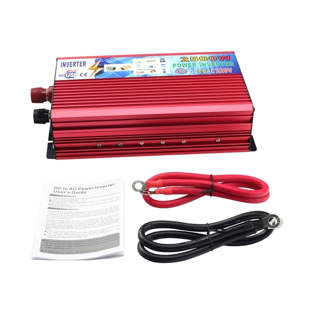 12 V to 220 V 2500 W รถอินเวอร์เตอร์ 12 v 220 v อินเวอร์เตอร์แปลงแบบพกพาแหล่งจ่ายไฟ USB Charger Adapter