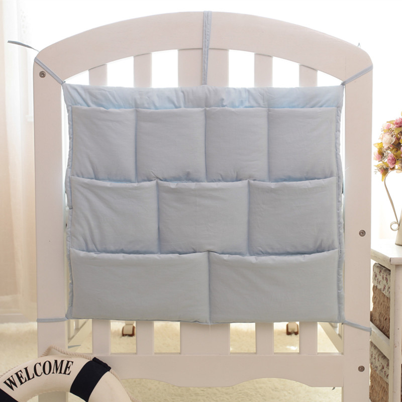 Baby Bumper Baby Bedding Set Hanging Bag Storage Cotton Newborn Crib Toy Diaper Organizer Pocket For Crib Nursing Bag