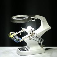 Desktop Magnifier 3X 4.5X Third Hand Iron Stand Soldering LED Illuminated magnifying glass loupe Motherboard Repair Tools
