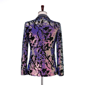 Image 2 - PYJTRL Fashion Purple Colorful Velvet Sequins Blazer Masculino Slim Fit Men Suit Jacket Stage Singer Costume Shiny Blazers