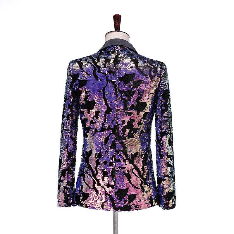 PYJTRL moda púrpura colorido terciopelo lentejuelas Blazer Masculino Slim Fit hombres traje chaqueta escenario cantante traje brillante Blazers-in chaqueta de deporte from Ropa de hombre    2