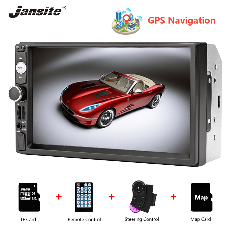Jansite 7 GPS MP5 Car Radio Touch Screen player with Steering wheel control Stereo radio two
