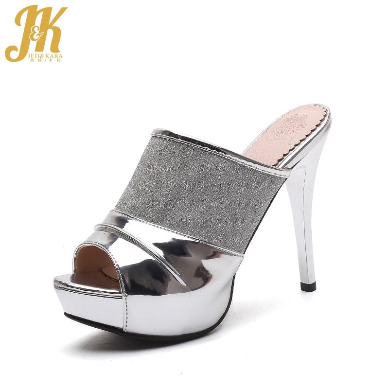 JK 2018 новый супер высокий тонкий каблук Для женщин Шлёпанцы для женщин открытый носок Направляющие сетки обувь на платформе модные летние По...