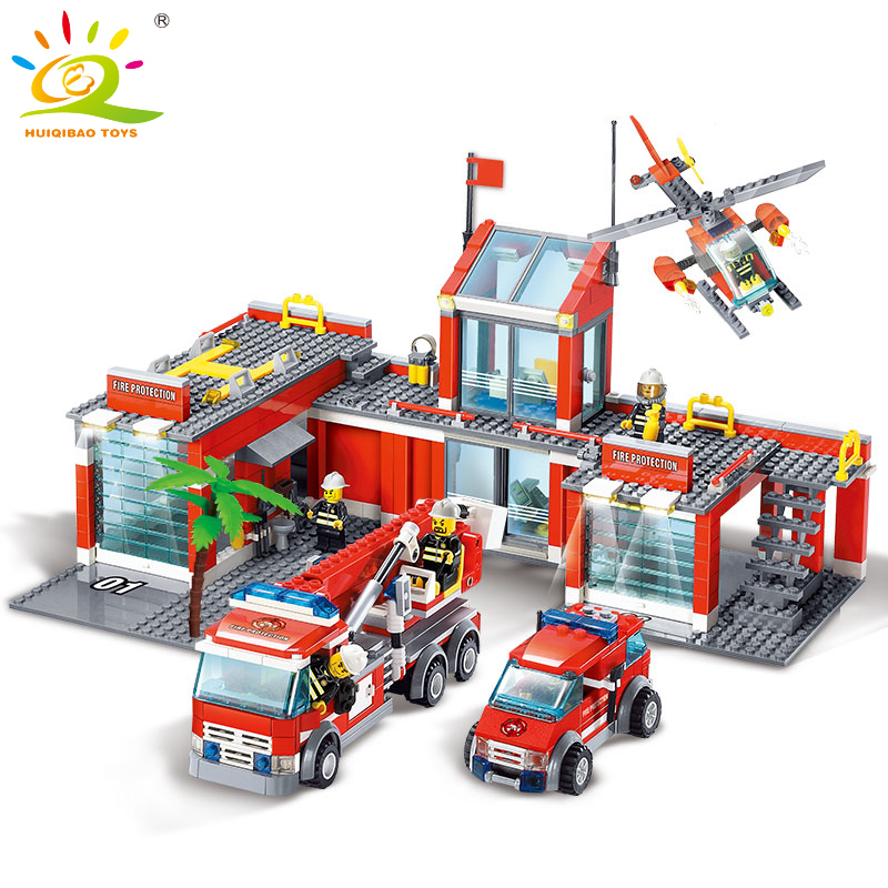 744pcs Fire Station Construction Building Blocks Toys For Children Compatible Legoed City Firefighter figures Technic Bricks kazi new 774pcs city fire station truck helicopter firefighter minis building blocks bricks toys brinquedos toys for children