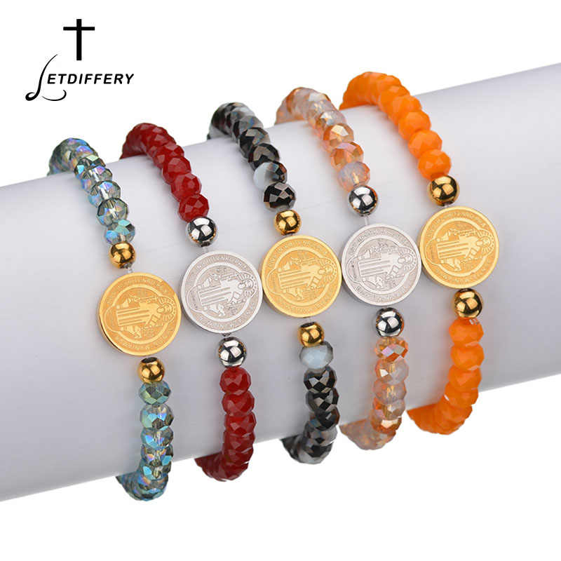 Letdiffery Saint Benedict Beads Bracelets Double sideds Stainless Steel Bracelets Religious jewelry Christmas Gift Wholesale