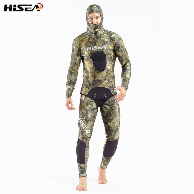 Hisea Men 7MM Neoprene Diving Suit Inside Smooth Skin Two-piece Split Camouflage Wetsuits for Underwater Fishing Hunting Wetsuit