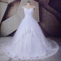 SoDigne Abiti Sposa Crystal Wedding Dress Princess 2017 A Line Beaded Lace Appliques Cap Sleeve Bridal