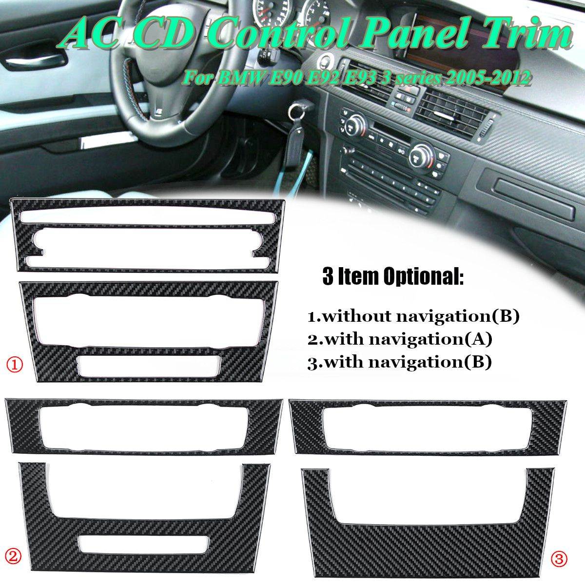 Car Air Conditioning CD Control Panel Trim Carbon Fiber Decoration for BMW E90 E92 E93 3 Series Interior Accessories Car styling car styling rear seat air conditioning vents decoration frame cover trim stickers accessories for bmw f30 3 series gt 320i 328i