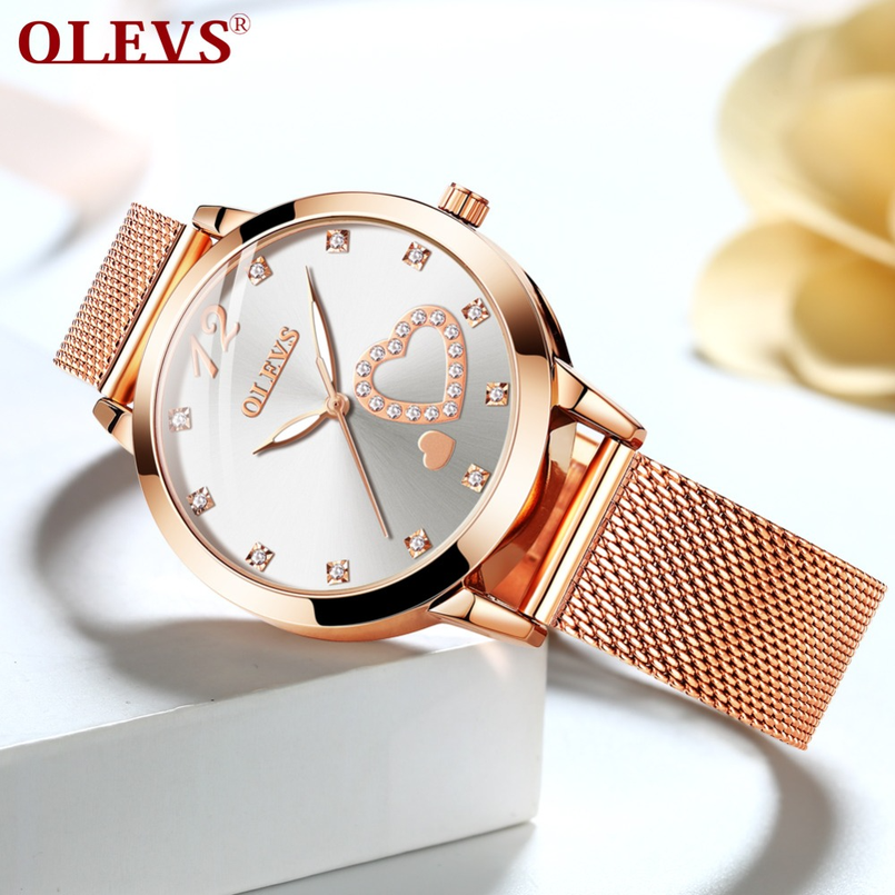 OLEVS Ladies Watch Fashion Casual Lady Clock Gold Rhinestone Watch Girl Love Carving Girlfriend Lover Gift