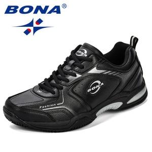 Image 1 - BONA New Popular Men Tenis Shoes Leather Outdoor Sport Shoes Classics Jogging Shoes Comfortable Trendy Man Sneakers Shoes