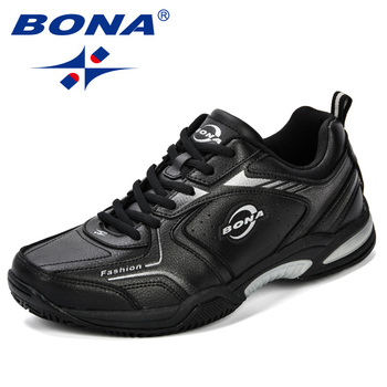 BONA nowe popularne męskie buty tenisowe skórzane buty sportowe na świeżym powietrzu klasyczne buty do biegania wygodne modne buty sportowe męskie buty tanie i dobre opinie w stylu butów do tenisa Dla osób dorosłych RUBBER Średnia (B M) oddychająca Spring2018 Sznurowane ELASTYCZNE Początkujący