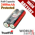 Genuine TrustFire Full Capacity 2400mAh 18650 with Protected PCB 3.7V Li-ion Rechargeable Battery 2PCS/LOT