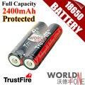 TrustFire genuino de la Capacidad Plena 2400 mAh 18650 con PCB Protegida 3.7 V Li-ion Batería Recargable 2 UNIDS/LOTE