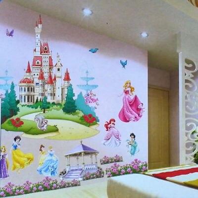 Énorme princesse château mur autocollant vinyle décalcomanie filles murale pépinière décor Art de la maison